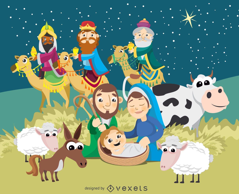 Dibujos De Navidad Del Nacimiento De Jesus.Pesebre De Navidad Nacimiento De Jesucristo Descargar Vector