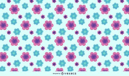 Purple Green Abstract Flower Pattern