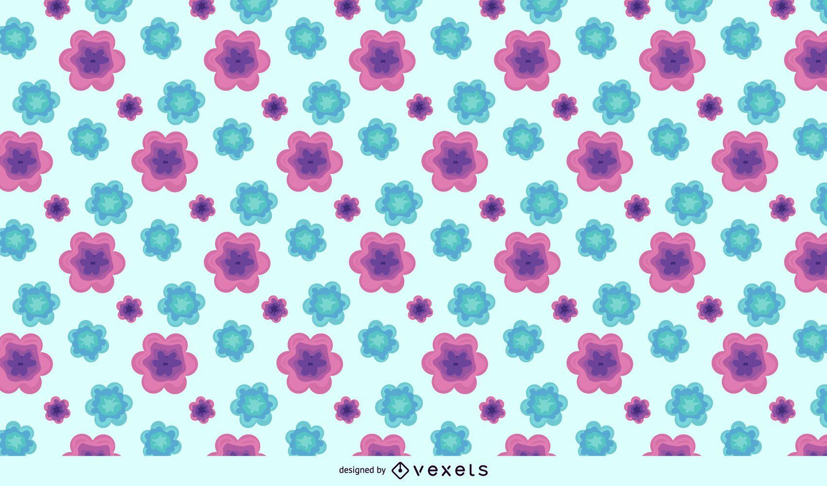 Purple Green Abstract Flower Pattern