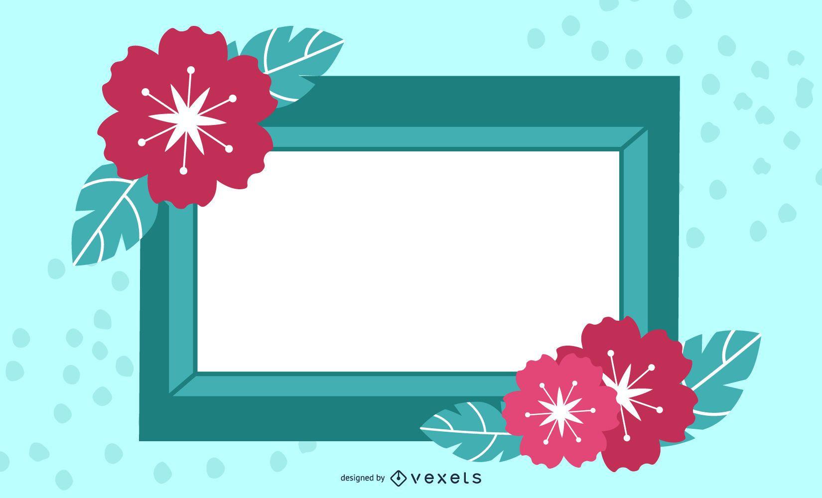 Blue Floral Rectangle Frame Banner