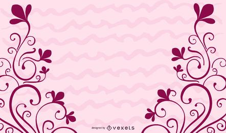 Red Floral Swirls Decoration