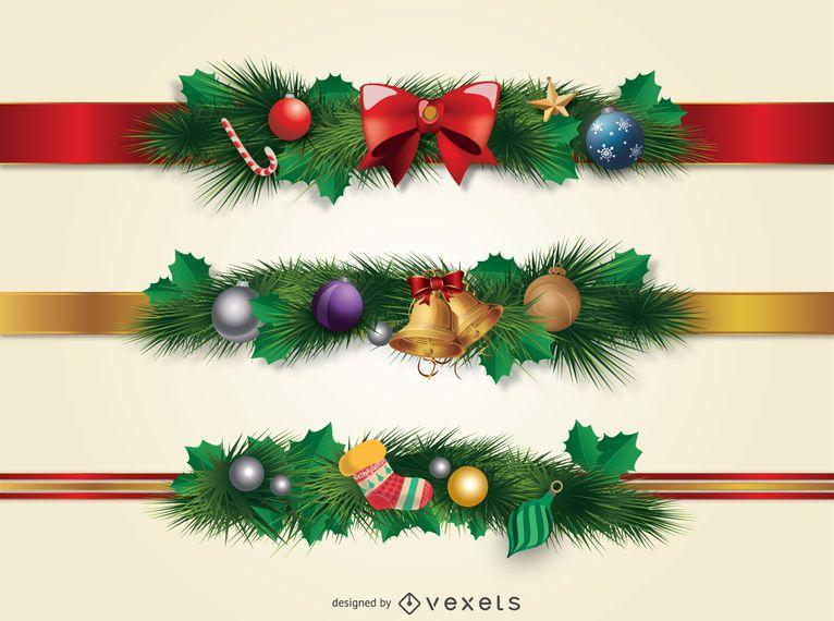 Christmas borders ornament - Vector