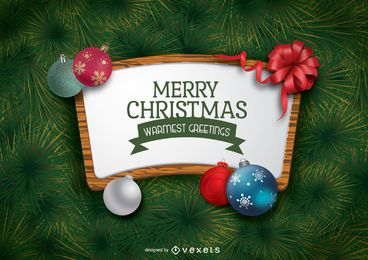 Cartel de navidad con adornos