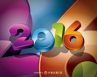 2016 colorful rounded big numbers