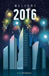2016 Año nuevo fuegos artificiales en la ciudad.