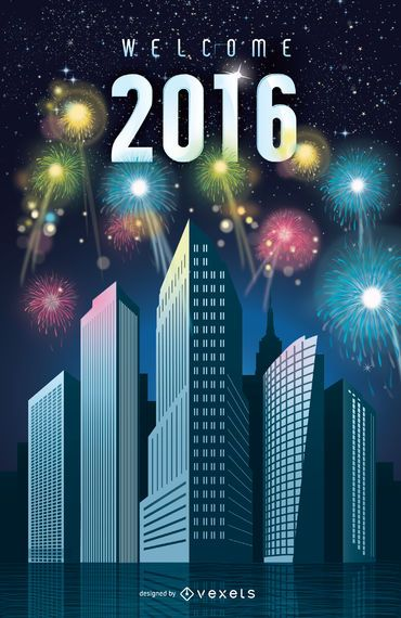 2016 New Year fireworks in the city