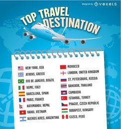 Modelo de lista de destino de viagens de 2016