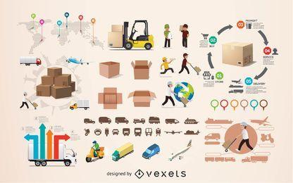 Elementos de infografía logística.