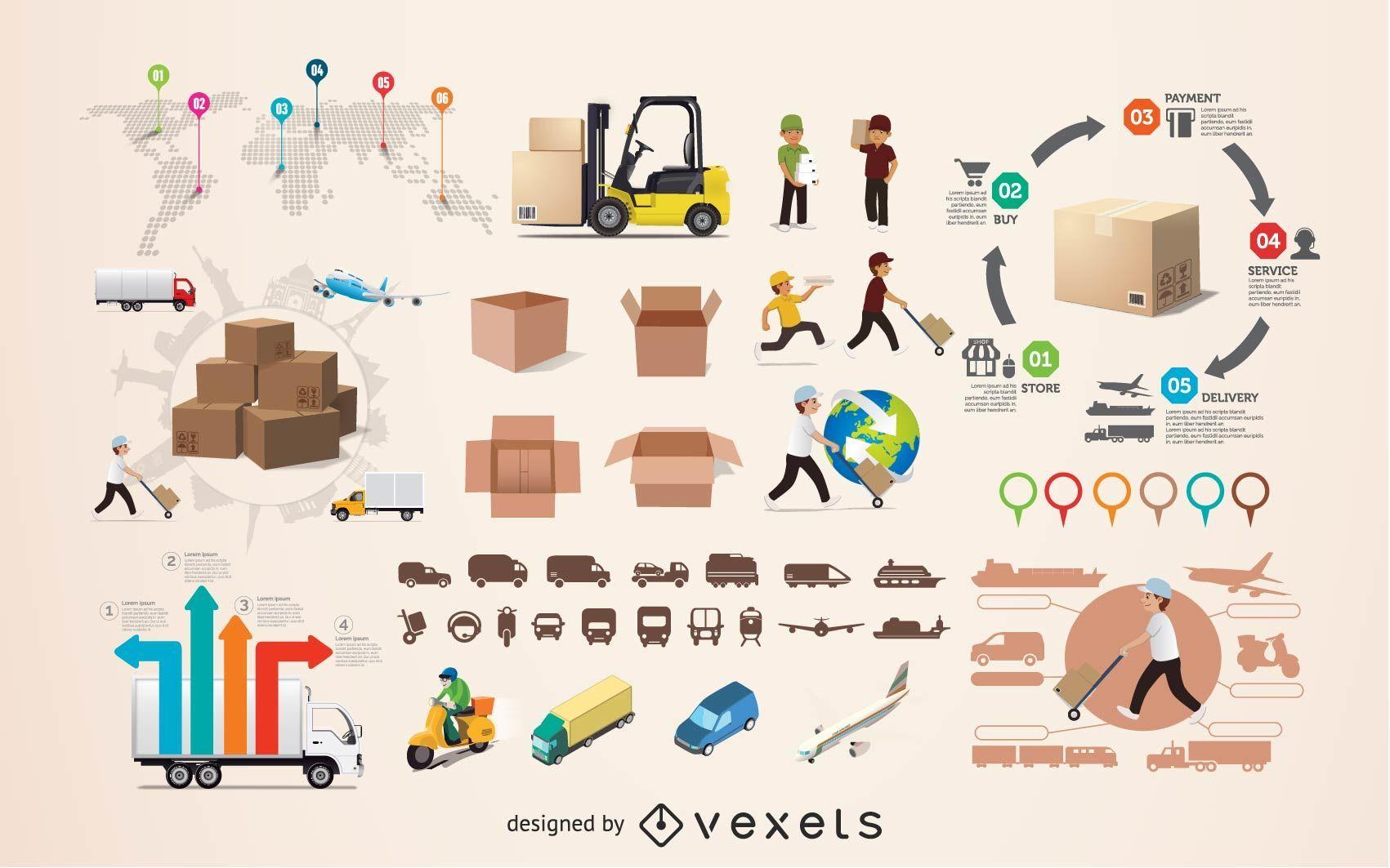 Elementos de infografía logística