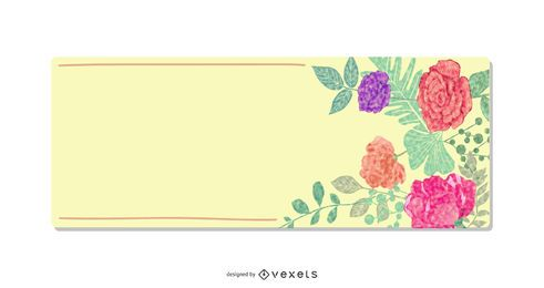 Yellow Banner Colorful Flowers Frame
