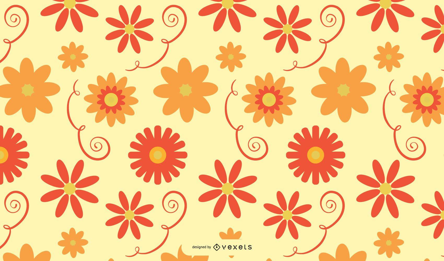 Swirls and Flowers Background