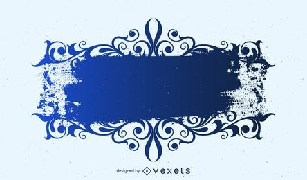 Banner de rectángulo azul remolino