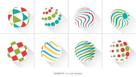 Pacote de logotipo de círculos abstratos