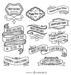Christmas doodles ribbons