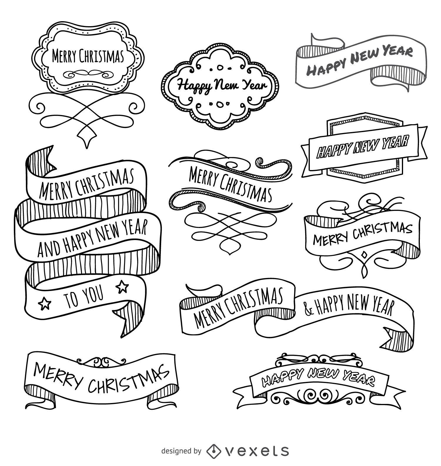 Christmas doodles ribbons