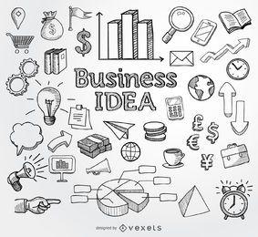 Elementos dibujados a mano de doodle de negocios