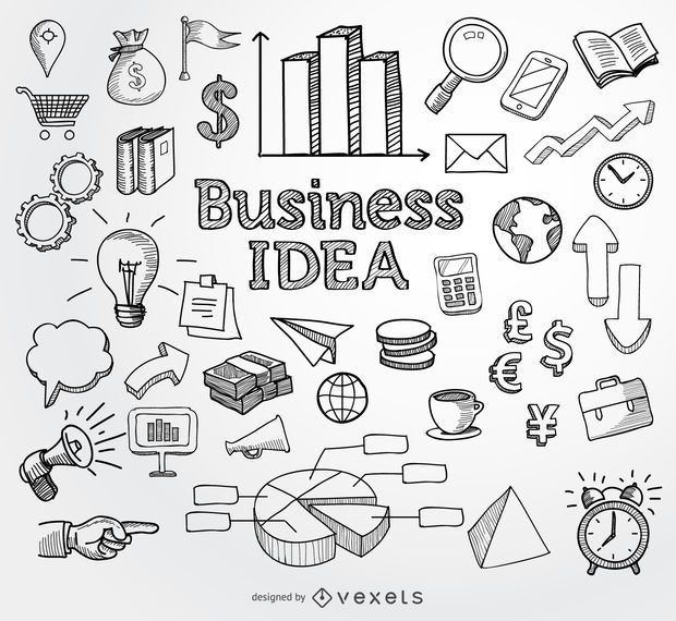 Elementos de mão desenhada de doodle de negócios