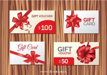 4 designs de cartões-presente