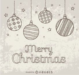 Handgezeichnete Gekritzel Weihnachtskugeln