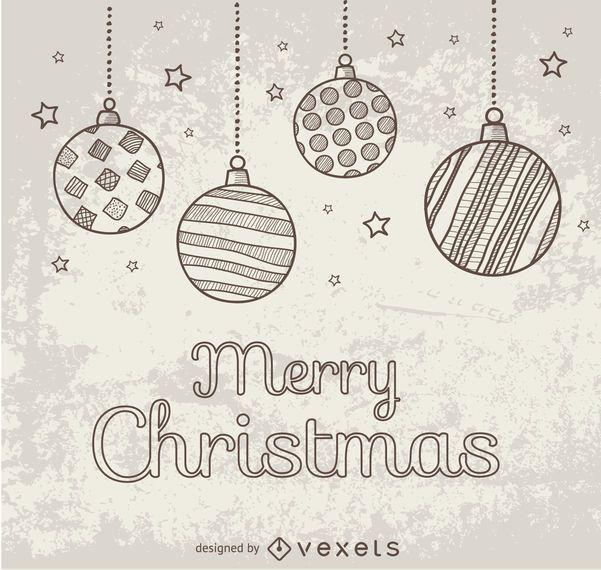 Mão desenhada doodle bolas de Natal
