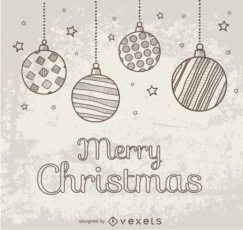 Hand drawn doodle Christmas balls