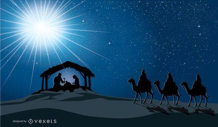 Belén navideño en el nacimiento del pesebre de Jesús, María, José y tres hombres sabios