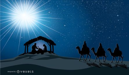 Cena da natividade do Natal na manjedoura nascimento de Jesus, Maria, José e três homens sábios