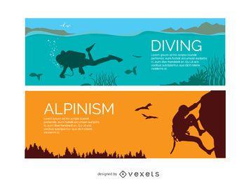 Banners de buceo y alpinismo.