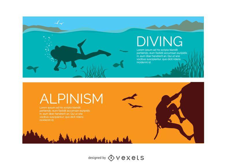 Banners de mergulho e alpinismo