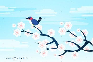 Vogel auf Baum-Ostern-Karte