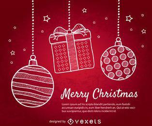 Fondo rojo de Navidad con bolas de Navidad doodle