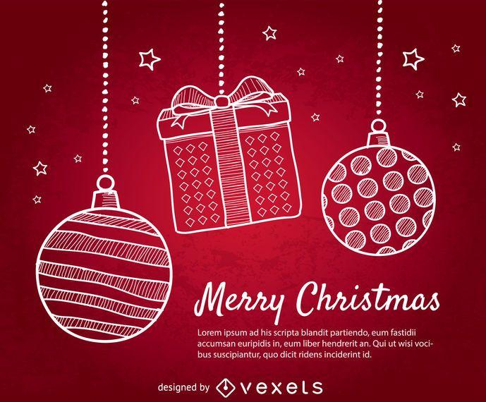 Fundo vermelho de Natal com bolas de Natal de doodle