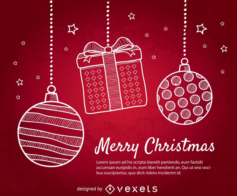 Fondo rojo de Navidad con bolas de Navidad de doodle