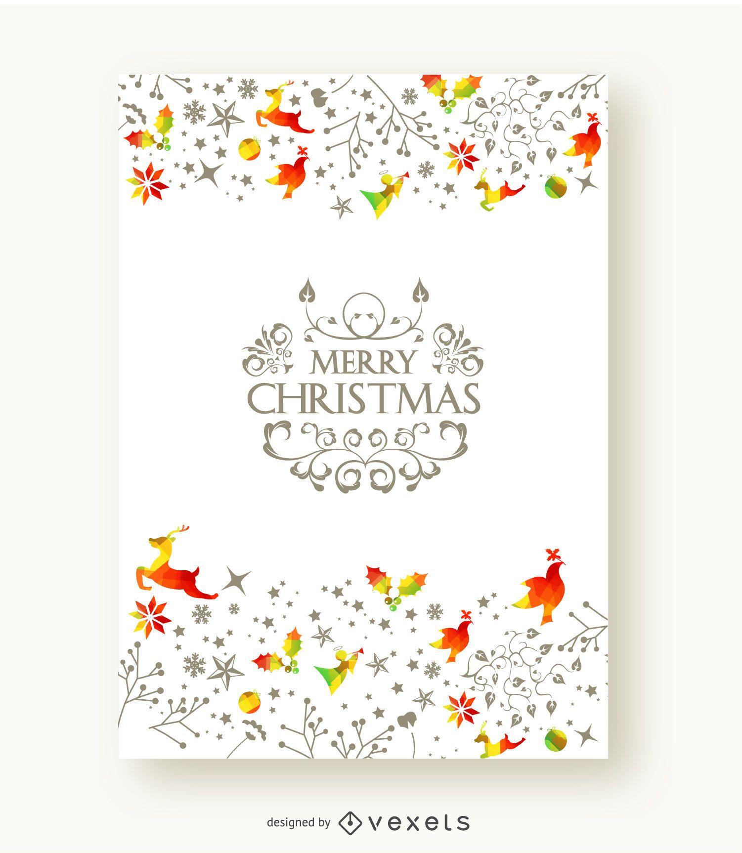 Merry Christmas beautiful postcard
