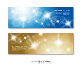 2 banner set with shinning circles and sparks