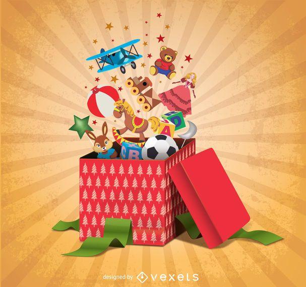 Cajas de regalo llenas de juguetes.