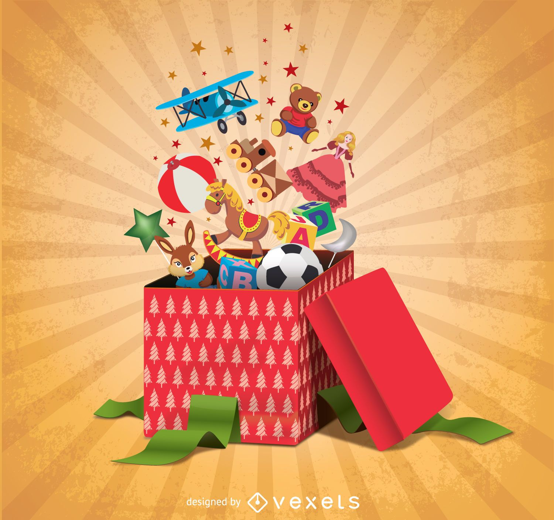 Cajas de regalo llenas de juguetes