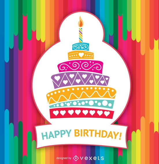 Bolo colorido de feliz aniversário
