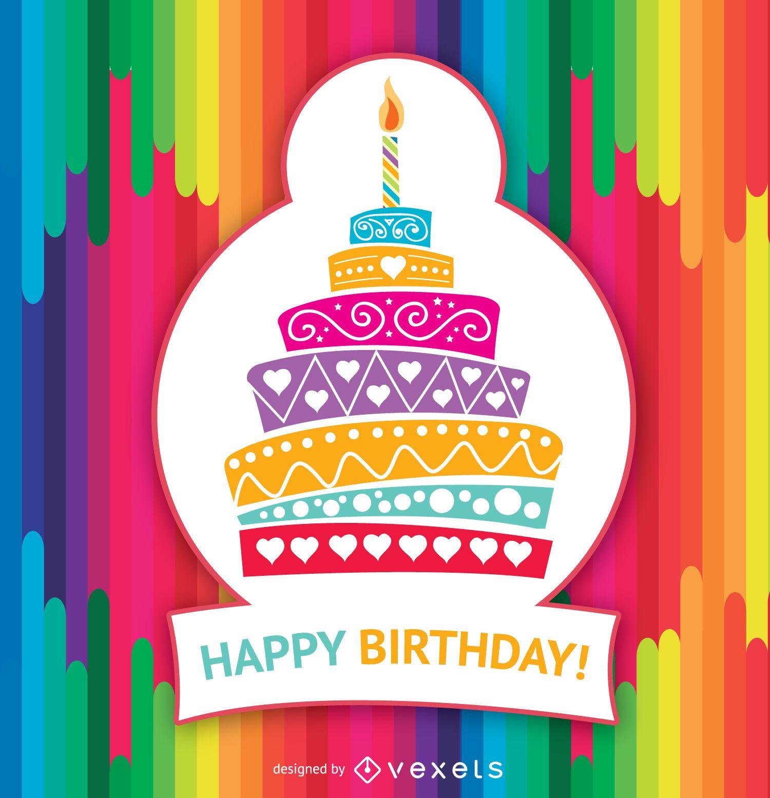 Feliz aniversário bolo colorido