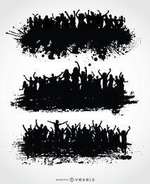 Conjunto de multitudes de grunge