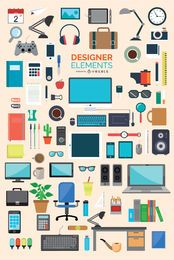 87 escritórios e designer ícones elemento set