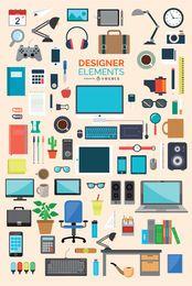 Conjunto de elementos de iconos de oficina y diseñador 87