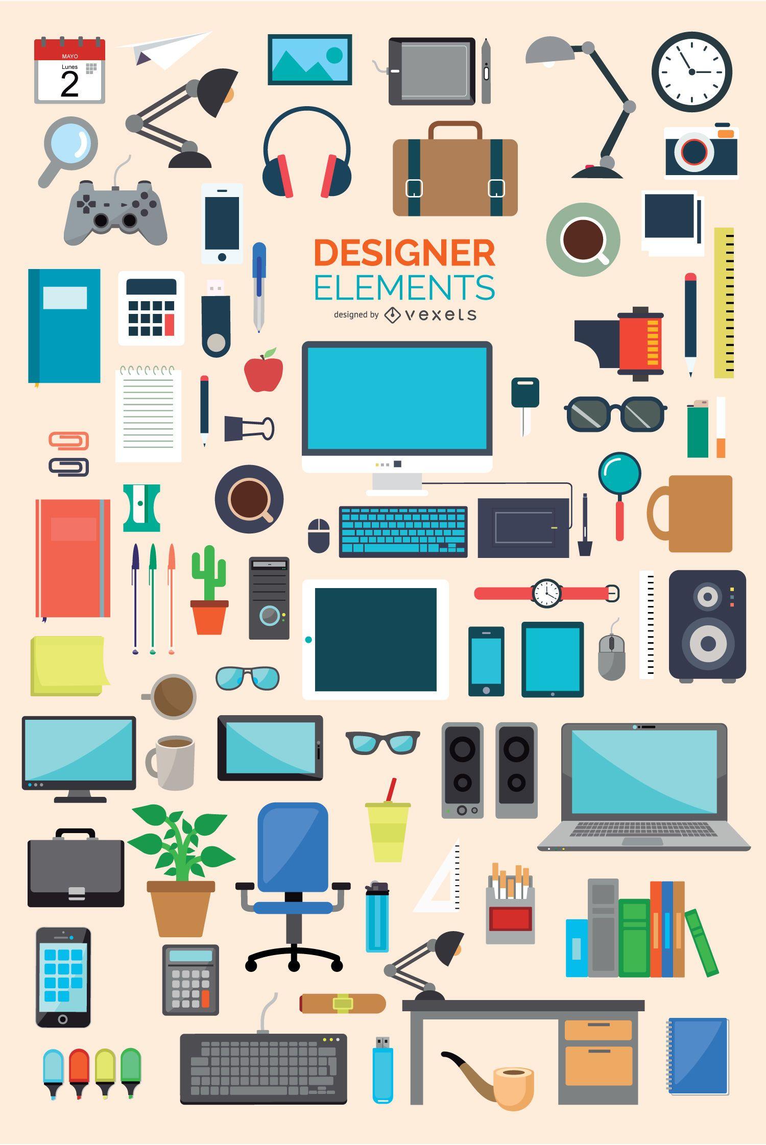 Conjunto de elementos de iconos de oficina y diseñador