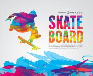 Skateboard colorido diseño pyscodelic