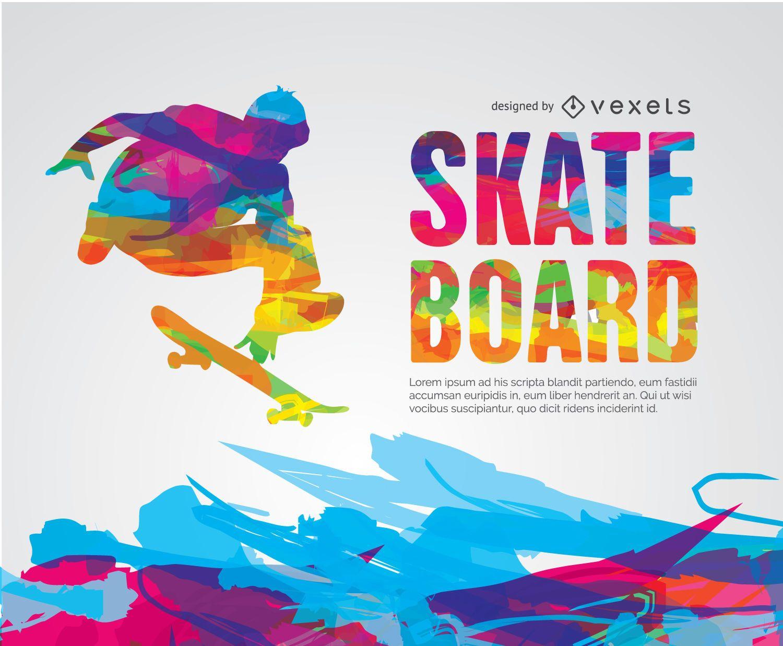 Skateboard colorful pyscodelic design