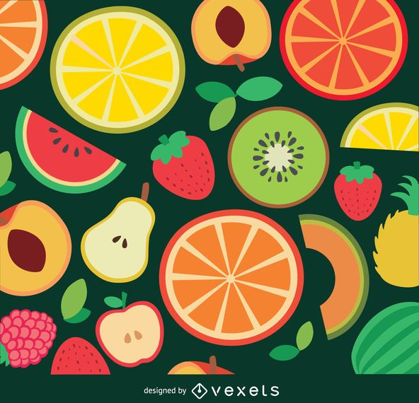 Flat fruits background