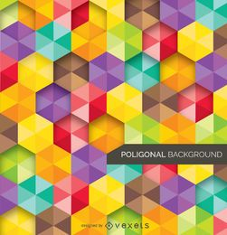 Fondo abstracto poligonal y colorido.