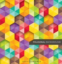Fundo abstrato poligonal e colorido