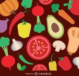 Vegetables flat background