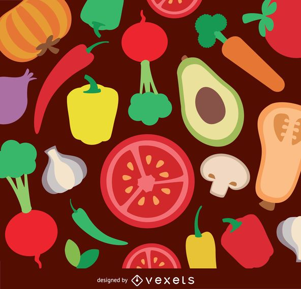Verduras de fondo plano